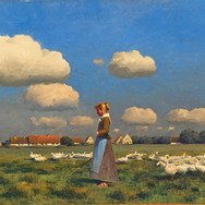 Young Goose Girl in a Meadow
