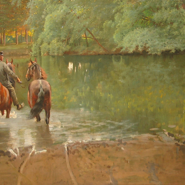 Young Man Leading Two Horses Through a Stream