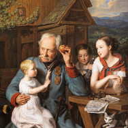 An Old Invalid with Three Children