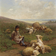 A Young Shepherd with His Flock