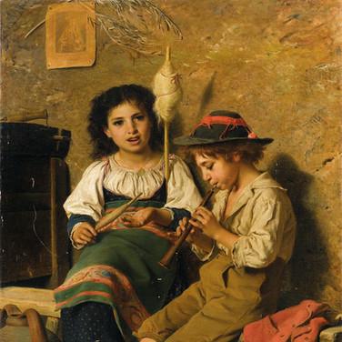 Spinnerin und Flotenspieler