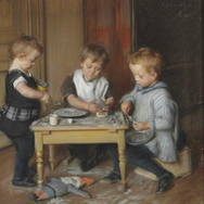 Three of the Artist's Children at a Table