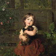 Little Girl with a Dachshund Puppy