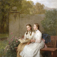 Two Young Girls Singing on a Park Bench