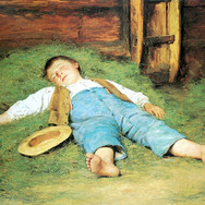 Schlafender Knabe im Heu