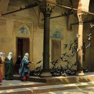 Harem Women Feeding Pigeons in a Courtyard