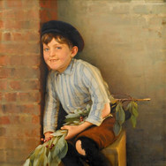 Shoe Shine Boy with Cherry Branch