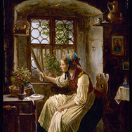 Young Woman Looking Through a Window