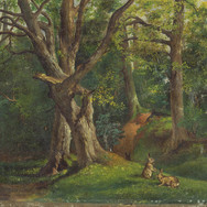 Woodland Scene with Rabbits