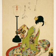 A Seated Woman with a Lacquer Candle Stand (Japan)