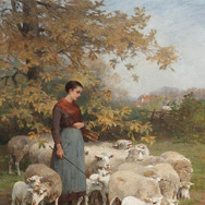 A Shepherdess Watering Her Flock