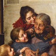 Grand-mere et ses Petits-Enfants au Panier de Cerises