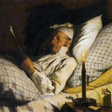 Bauer, im Bett Lesend I