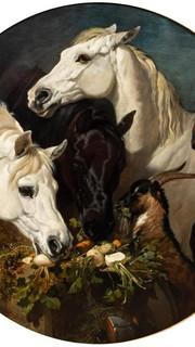 32. Similar to Pharaoh's Horses by John Frederick Herring (Horses and Goat Eating Turnips and Carrots by John Frederick Herring)