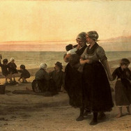 Vissersvrouwen bij Bodergaande Zon