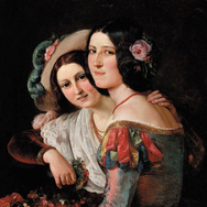Two Young Italain Women in Colourful Carnival Costumes