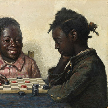 Two Children Playing Checkers