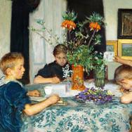 Children Painting Spring Flowers