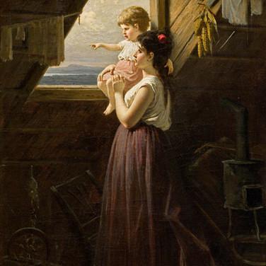 Mutter mit Kind am Fenster