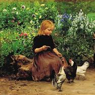 Lise is Feeding the Hens