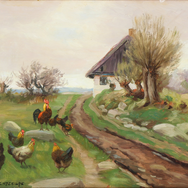 Farmhouse Exterior with Chickens