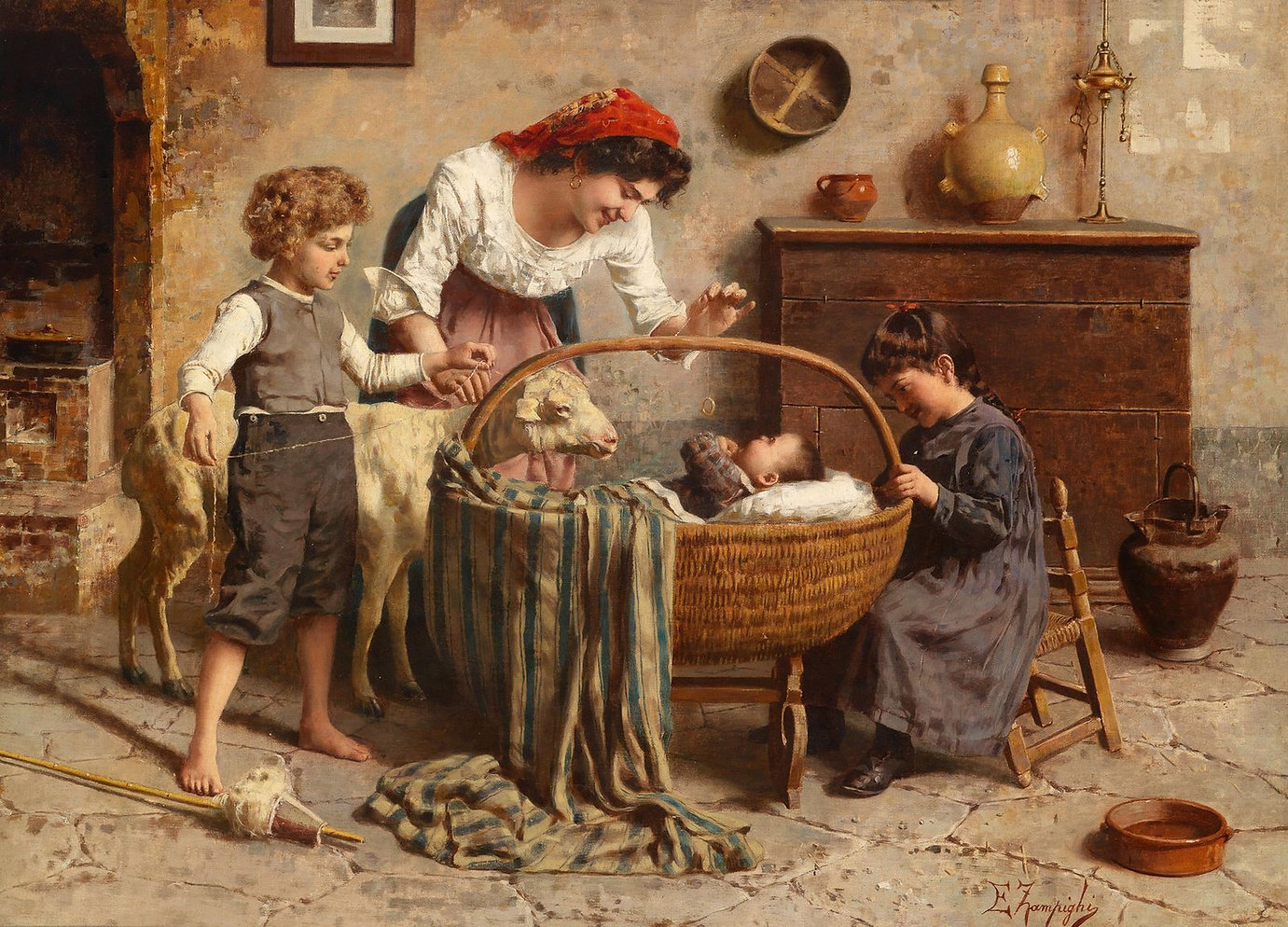 Eugenio_Zampighi_-_Idyllic_Family_Scene_
