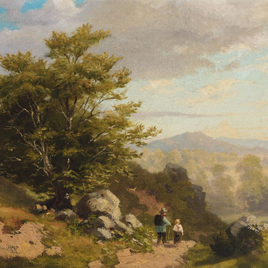 Alpine Landscape with Two Hikers