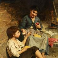 Zwei Kinder mit Brot und Apfeln
