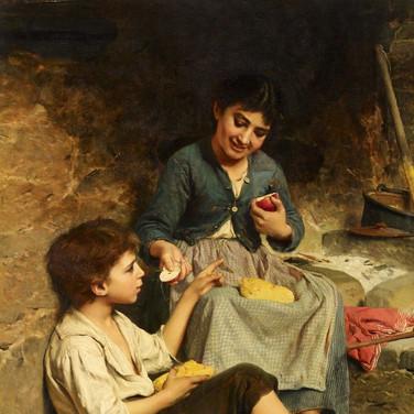 Zwei Kinder mit Brot und Apflen