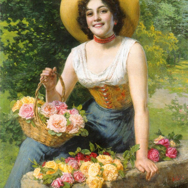 A Beauty Holding a Basket of Roses