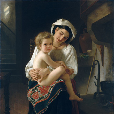 Young Mother Gazing at Her Child