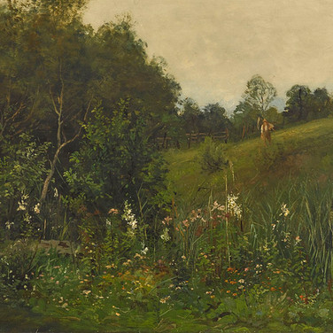 Summer Landscape with a Mower