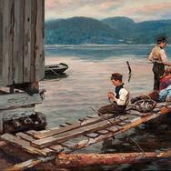 Brygge med Fiskergutter