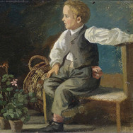 A Young Boy on a Bench with Flower Pots