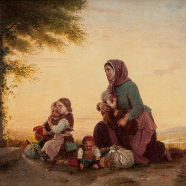 Mother and Children by a Wayside Shrine