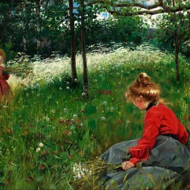 Girls on Jamtland Summer Meadow