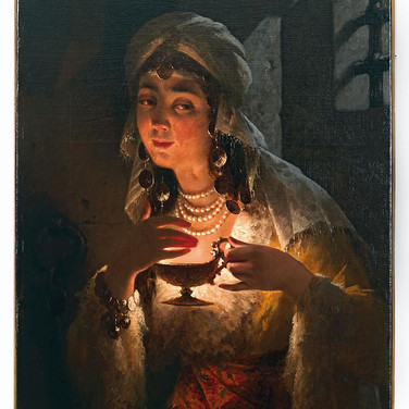 A Young Turkish Woman with an Oil Lamp