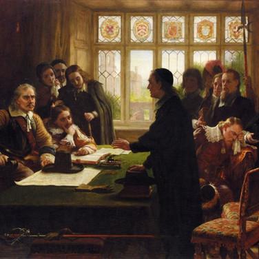 Oliver Cromwell and His Secretary John Milton