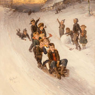 Winter Landscape with Sledding Children