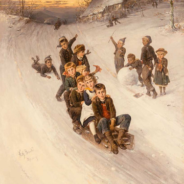 Winter Landscape with Sledding Children