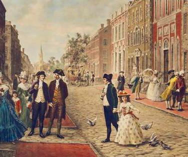 Aaron Burr, Alexander Hamilton, and Philip Schuyler Strolling on Wall Street