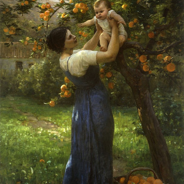 Mother and Child in an Orange Grove