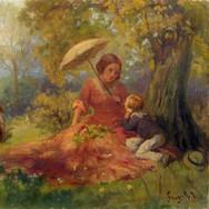 Mutter und Kind Rasten Unter Einem Baum