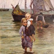 Zwei Madchen mit Fischerboot
