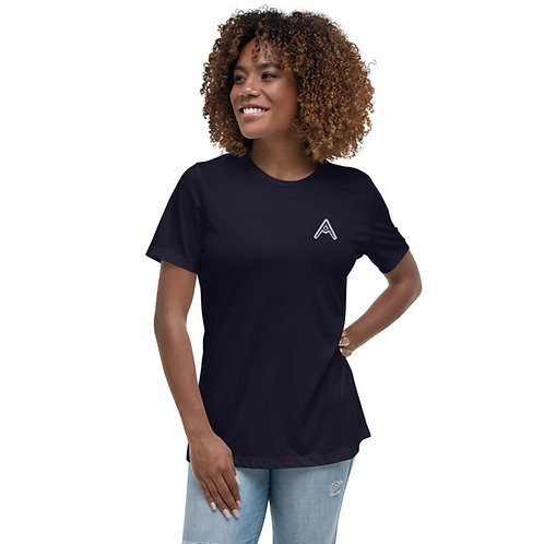 AzizDraws Women's Relaxed T-Shirt Embroidered Night