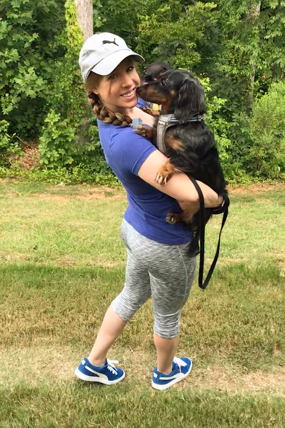 Ash Bush, personal trainer, with her mini-dachshunds summer 2018