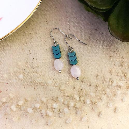 Rose Quartz and  Hematite Drop Earrings
