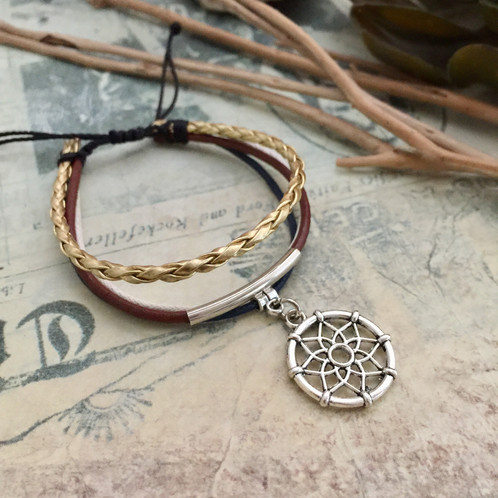This Bracelet Is Made Of Silver Finish Charm Wax Cord And Leather