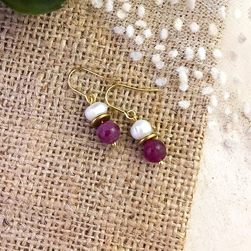 Pink Agate and Freshwater Pearl Earrings