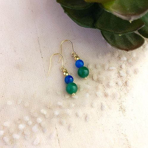 Jade and Agate  Stone  Drop Earrings